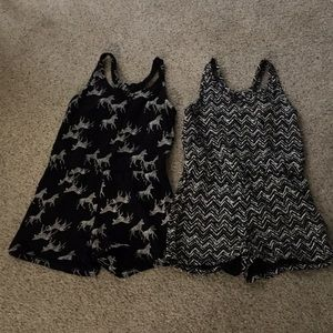 Girls rompers, Old Navy, size 6-7, black/white